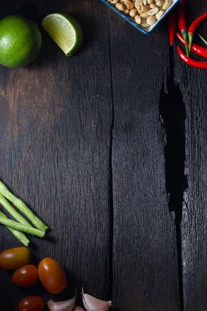 somtum: ingredient somtum on wood background Stock Photo