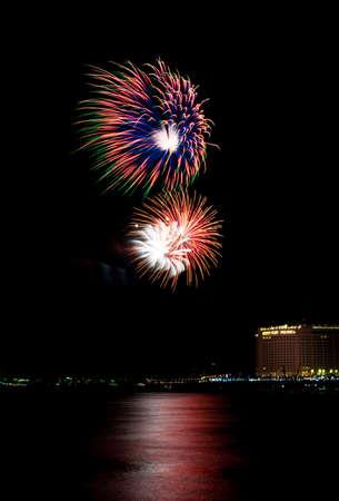 PHNOM PENH, CAMBODIA - NOVEMBER 26 : Fireworks at Water festival on November 26, 2015 in Phnom Penh, Cambodia. Editorial