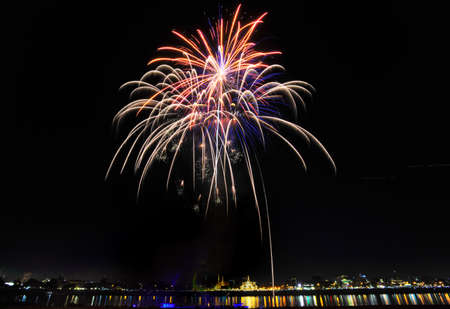 PHNOM PENH, CAMBODIA - NOVEMBER 25 : Fireworks at Water festival on November 25, 2015 in Phnom Penh, Cambodia.