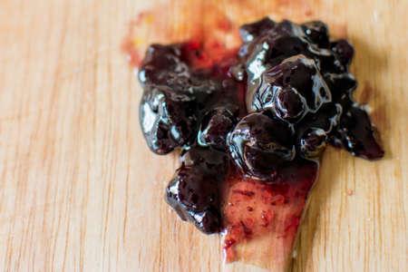 palatable: blueberry jam before eat Stock Photo