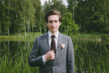 businesswear: A man in a wedding dress suit Stock Photo