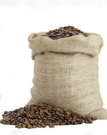 burlap bag: bag of coffee beans isolated on white background