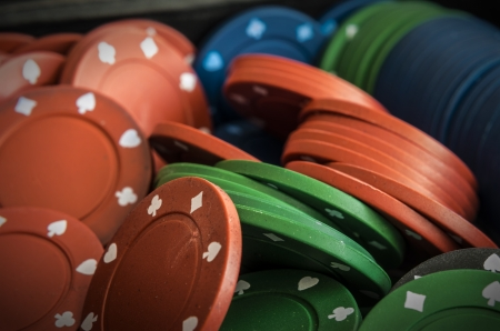 vertical format: pile of poker chips Stock Photo