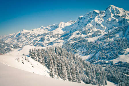 Beautiful view to winter Swiss Alps, Berner Oberland, Adelboden Stock Photo - 13912693