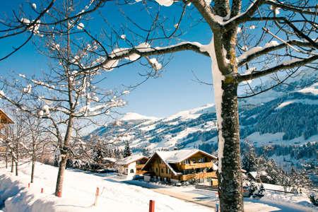 Winter nature in Swiss Alps, Berner Oberland, Adelboden Stock Photo
