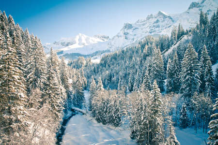 Beautiful view to winter Swiss Alps, Berner Oberland, Adelboden