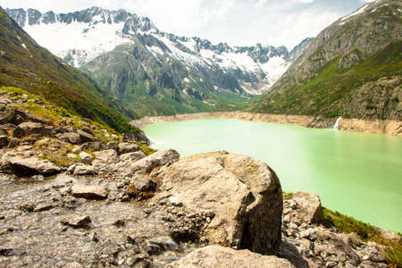 View from the hiking train around Goescheneralpsee in Swiss Alps, Uri, Switzerland Stock Photo