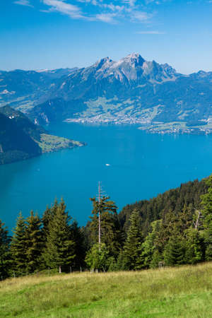 Beautiful view to Lucerne lake  Vierwaldstattersee   and mountain Pilatus from Rigi, Swiss Alps, Central Switzerland photo