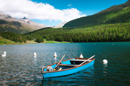 Sankt Moritz Lake with boats, Grisons, Switzerland Stock Photo - 16435679
