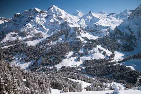Beautiful view to winter Swiss Alps, Berner Oberland, Adelboden Stock Photo - 16435678