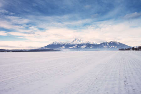 View to High Tatras mountain range covered by snow in winter time, Slovakia Stock Photo - 18005186