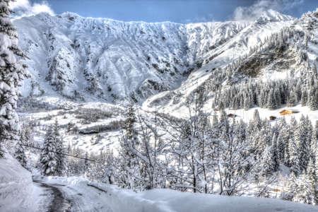 Beautiful view to winter Swiss Alps, Berner Oberland, Adelboden Stock Photo - 18005204