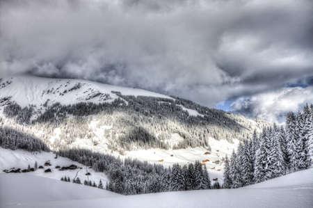 skying: Beautiful view to winter Swiss Alps, Berner Oberland, Adelboden, HDRI
