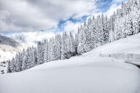 Beautiful view to winter Swiss Alps, Berner Oberland, Adelboden, HDRI Stock Photo - 18005189