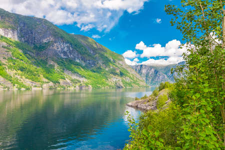View to Aurlandsfjord a branch of Sognefjord, Norway Stock Photo