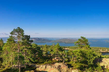 View to the ocean from Slattdalsskrevan, Ornskoldsvik,  High Coast, Sweden 免版税图像