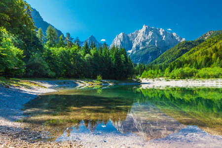 Beautiful valley with the lake in the Triglav National Park, Julian Alps, Slovenia
