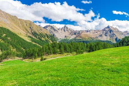 Beautiful mountain range along the Bernina Pass near St  Moritz, Grisons, Switzerland Stock Photo