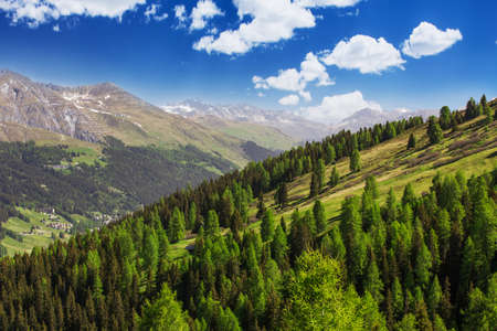 View to Swiss Alps from the top of  Rinerhorn mountain, Davos, Switzerland photo