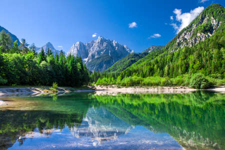 Valley with the beautiful lake in the Triglav National Park, Julian Alps, Slovenia 免版税图像
