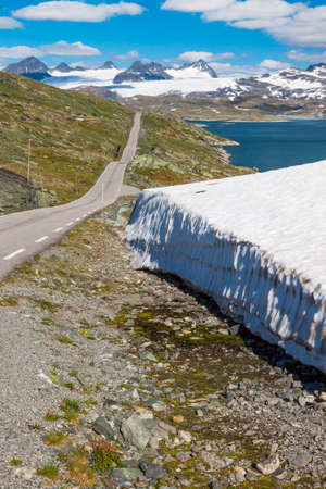 The Sognefjellsvegen, the highest mountain pass road in Northern Europe, Norway Stock Photo