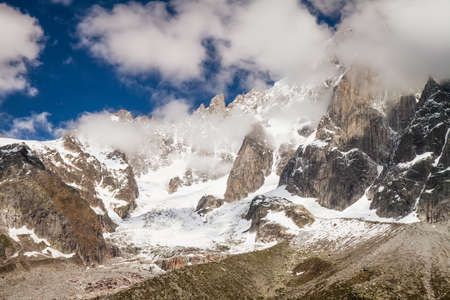 View to French Alps Valley under Mt  Blanc with Mer de Glace - Sea of Ice Glacier Stock Photo