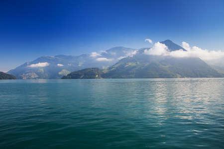 View to Swiss Alps in Adelboden, Switzerland Stock Photo