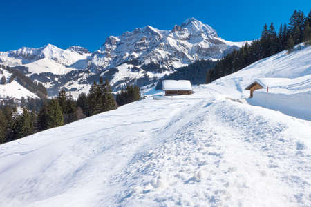 skying: Beautiful view to winter Swiss Alps, Berner Oberland, Adelboden