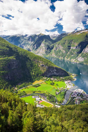 View to Aurlandsvangen village and Aurlandsfjord a branch of Sognefjord from Stegastein viewpoint, Norway