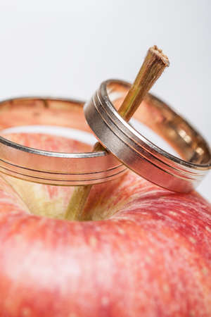 Wedding rings on the redapple