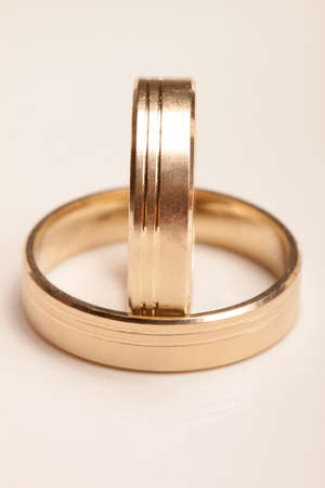 Wedding rings isolated on the white background Stock Photo