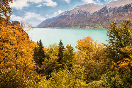 View to Lake Brienz in autumn beautiful weather, Bernese Highlands, Switzerland, HDR