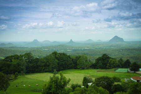 View to vulcanic Glasshouse mountains, Queensland, Australia