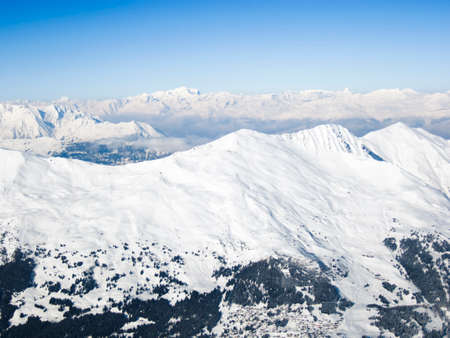 Beautiful view from the top of skiing resort in Lenzerheide Swiss Alps, Grisons, Switzerland