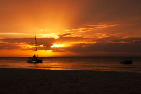 frosty morning: Sunset with sailing boats at Moreton Island, Queensland, Australia