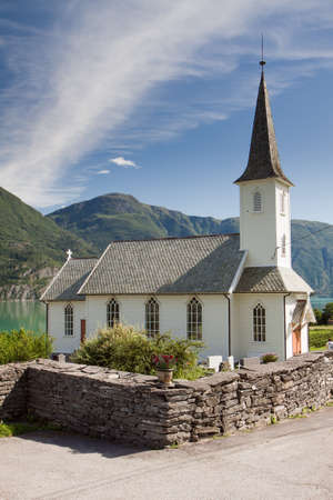 Church on the bank of the fjord in Norway