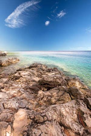 Rocky beach scenery in Croatia; Istria; Europe