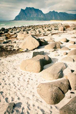 Coast beach in Norway, Lofoten, Unstad Stock Photo