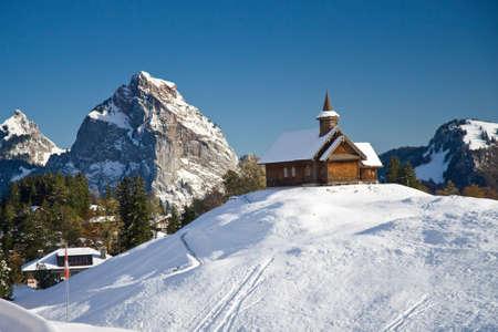 Wooden church in Swiss Alps, Stoos, Mythen region, Switzerland Stock Photo