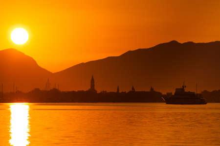 Sunrise over the Trogir harbor and Adriatic sea, Croatia