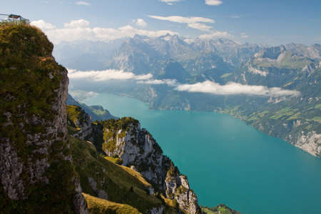 Beautiful view to Swiss Alps and Lake Lucerne - Vierwaldstattersee from Frontalpstock, Central Switzerland Stock Photo