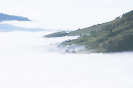 Autumn forest fog - inversion in mountains Stock Photo