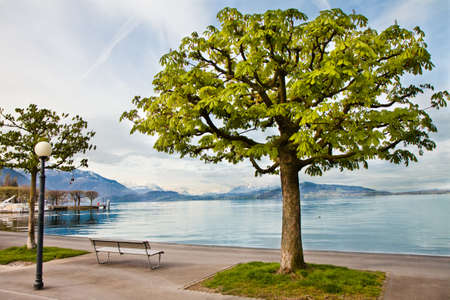 Promenade on the coast of the Lake Zug in Central Switzerland Stock Photo