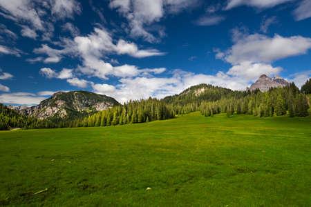 View to the Tre Cime di Lavaredo in Dolomites, Italy, Europe
