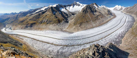 aletsch: Majestic view to Aletsch glacier, the largest gracier in Alps and UNESCO herritage from Bettmeralp, Valais, Switzerland, Europe