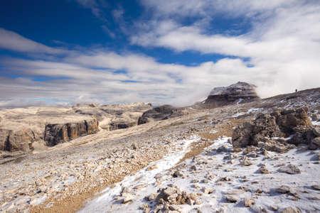 sella: Sass Pordoi plateau with Piz Boe peak and Sella group mountains in Dolomites, Italy, Europe
