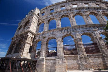 roman amphitheater: Ancient Roman Amphitheater and Church in Pula, Istria, Croatia