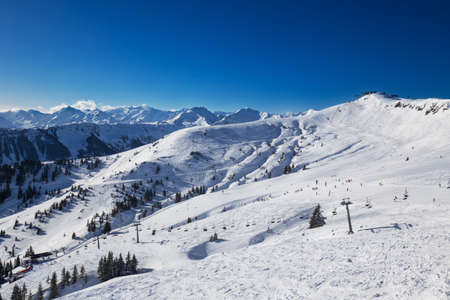 wildkogel austria: View to Alpine mountains and ski slopes in Austria from famous Kitzbuehel ski resort with 54 cable cars, 170 km prepared skiing slopes and place of famous Hahnenkamm race, Tyrol, Austria Editorial