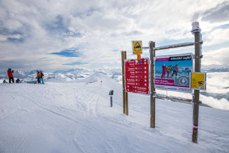 wildkogel austria: Maps with ski slopes at Kitzbuehel ski area. It is the one of the best ski resort in the world with 54 cable cars, 170 km prepared skiing slopes and place of famous hahnenkamm races, Tyrol, Austria