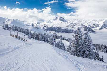 View to Alpine mountains in Austria from Kitzbuehel ski resort - one of the best ski resort in the workd with 54 cable cars, 170 km prepared skiing slopes and place of famous hahnenkamm races, Tyrol, Austria Stock fotó